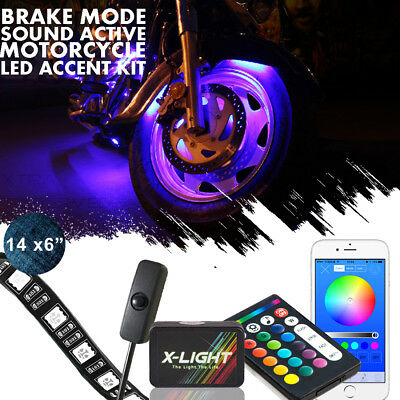 14x Motorcycle LED Under Glow Light Kit Multi-Color Neon Strip bluetooth Control
