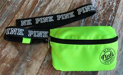 NWOT Victoria's Secret Pink We Run This Beach FANNY PACK waist bag NEON YELLOW