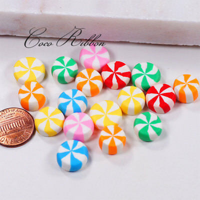 11x6mm 50 pieces Peppermint Candy Polymer Clay Flatback Cabochons C16