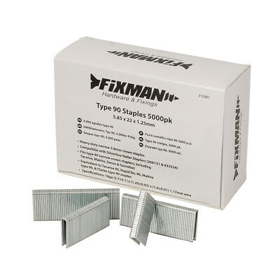 Fixman Type 90 Staples 5000pk 5.80 x 22 x 1.25mm | 312861
