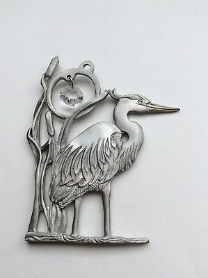 Hanging Decoration With A Crystal-Ocean Art Pewter Canada Bird Heron