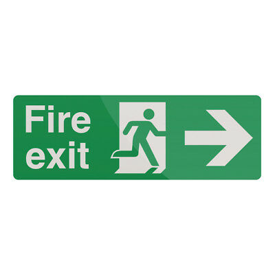 Fixman Fire Exit Right Arrow Sign 400 x 150mm Self-Adhesive | 525774