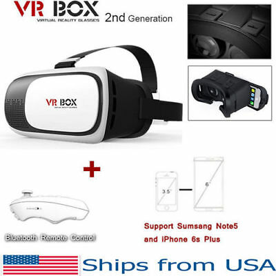 VR Box 2.0 Google Cardboard Virtual Reality 3D Glasses 2nd Gen Headset w/ Remote
