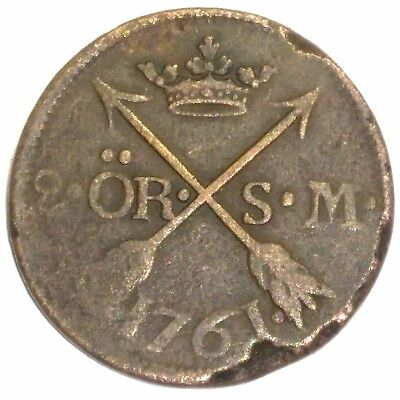 Sweden 1761 2 Ore ~ Scarce ~ Low mintage Only 422,000 ~ Large Copper ~ KM #461