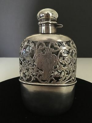 Vintage Alvin Silver Mftg Co. Sterling Silver and Glass Flask