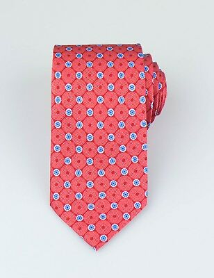 New. BRIONI Red With Floral Pattern 100% Silk Neck Tie $230