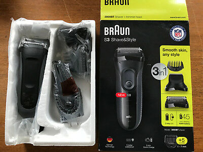 BRAUN Series 3 Shaver + Trimmer 3000BT Shave & Style w/5 Combs