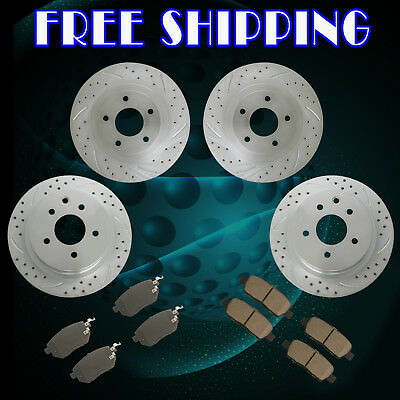 Front Rear Slot Brake Rotors and Ceramic Pads fit 2009 2010 2011 Murano SL 3.5L