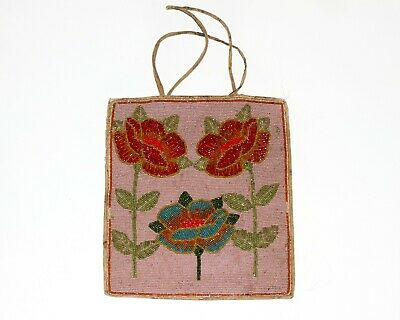 OLD Native American Floral Beaded Bag 1930s COLLECTIBLE