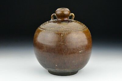 Antique Thai Sawankhalok Ceramic Pottery Jar 14th / 15th Century