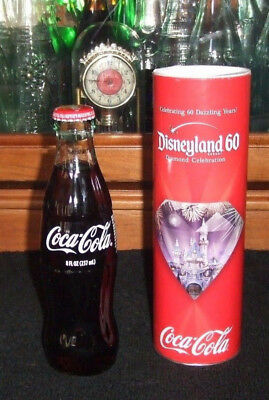 Rare Disneyland 60th Disney Diamond Celebration Coke Coca-Cola Glass Bottle !!!