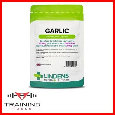 Lindens Garlic 1000mg 200 Capsules Odourless Heart Health