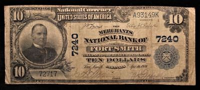 1902 $10 National Currency Note Vg (National Bank Fort Smith, Ak) #3149K