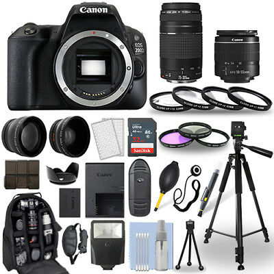 Canon EOS 200D / Rebel SL2 DSLR Camera + 18-55mm + 75-300mm + 30 Piece Bundle