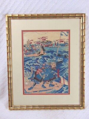 Vintage Antique Japanese Woodblock on Cloth of Samurai Warriors on Boats