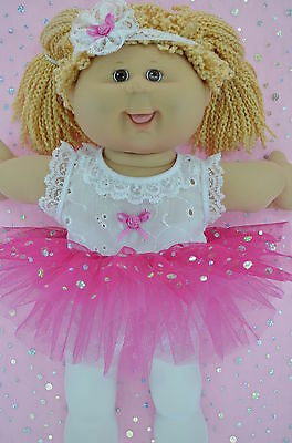 """Play n Wear Doll Clothes To Fit 16"""" Cabbage Patch HOT PINK TU TU~TIGHTS~HEADBAND"""