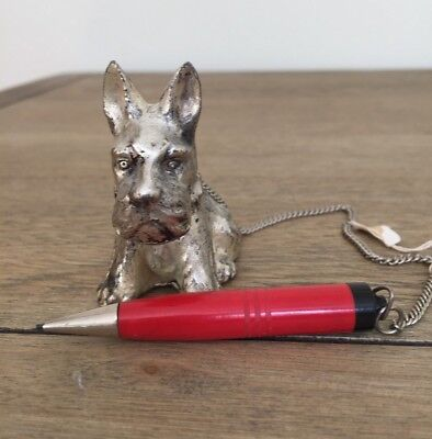 """Vintage Scottish """"Scottie"""" Terrier Dog With Pencil and Chain, Made in Japan"""