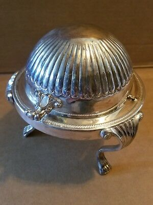FB Rogers Silver Co. Silverplate Roll Top Lid Stamped 373 With Glass Butter Dish
