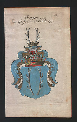 1771 Coat of arms of the Counts of Hodicz Copper engraving