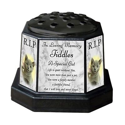 Personalised Cat Memorial Vase Pot. With Photo. For garden, grave etc. Pet Loss