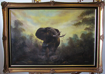 Large Gilt Framed Oil Painting Of A Charging Elephant Signed T Reed. Vintage Art