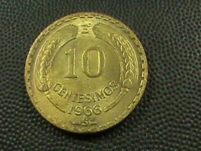 CHILE  10 Centesimos  1966  UNCIRCULATED   $ 2.99  maximum  shipping  in  USA