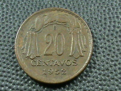 CHILE    20  Centavos   1952   $ 2.99  maximum  shipping  in  USA