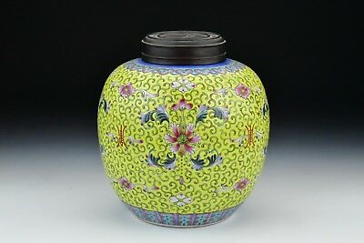Antique Chinese Export Porcelain Famille Jaune Yellow Ground Ginger Jar