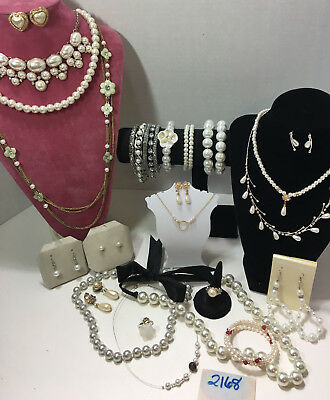 Jewelry Lot Pearls Glass Real Classic Modern Necklace Bracelet Earring 25pc#2168
