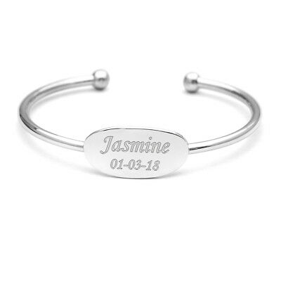 Personalised Engraved Baby Bangle Large Plate Name & Date Christening Baptism
