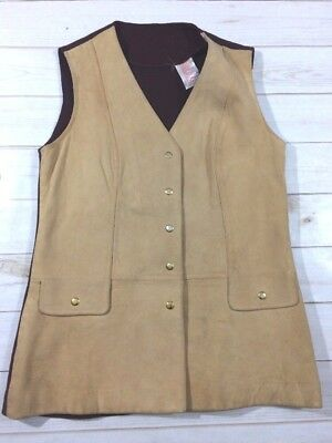 VTG Womens Leather Camel Snap Vest Western Cowgirl Size 14