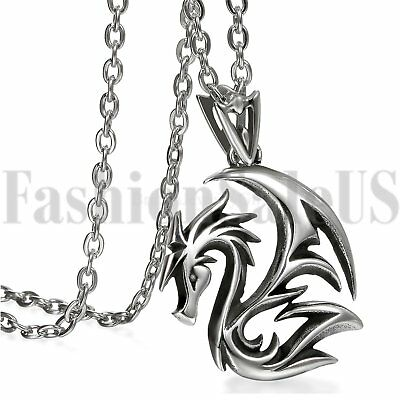 Mens Biker Gothic Silver Tone Vintage Dragon Stainless Steel Pendant Necklace