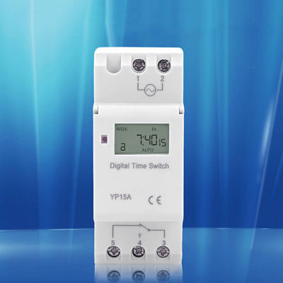 NEW Panel Mounted Digital LCD Programmable Timer Switch YP15A 12V 24V110V 220VAC