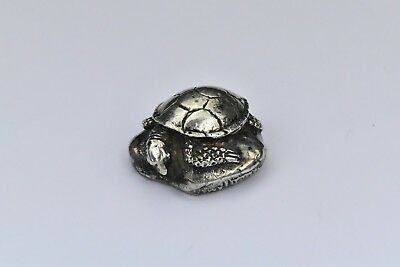 Heavy Cast Sterling Silver Sea Turtle Paperweight Signed R. Tuttle 2.76 Troy Oz