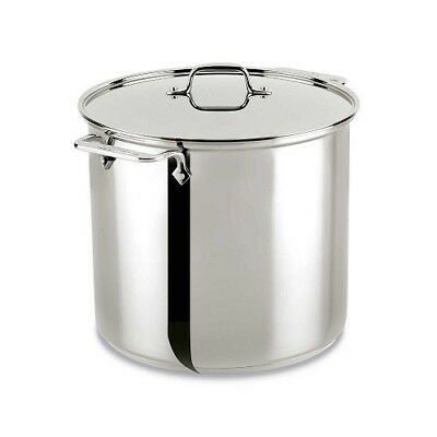 All-Clad 16 Qt Stainless Steel Pot Stock Lid 18 10 Gauge Heavy Kitchen Disk Alum