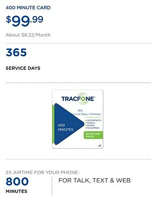 Tracfone 400 Minutes, 400 Sms, 400 Data, 365 Service Days