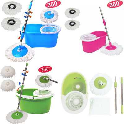 Microfiber Magic Mop 360 Spining Rotating Head Easy Cleaning Floor w/ Bucket Set
