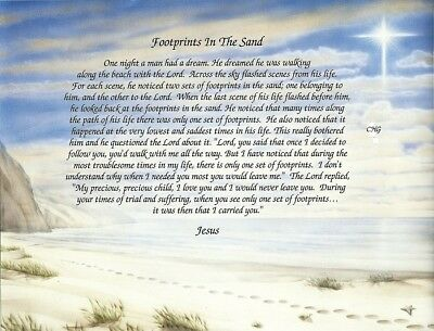 """Footprints in the Sand"" Inspirational Poem Print (8.5 x 11)n Ready to Frame"