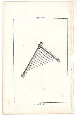 1780 Antique Copperplate Print-Instrument/harp
