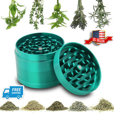 4 Piece Magnetic 2 Inch Green Tobacco Herb Grinder Spice Zinc Alloy Crusher USA