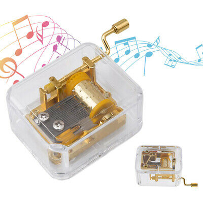 Mini Manual Movement Gurdy Music Box Acrylic Hand Crank Xmas Kids Gift Gold New!