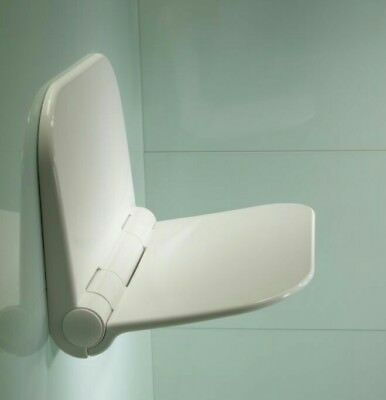 Wall mounted fold down shower seat in White. 160kg max  (350lb+) free p&p