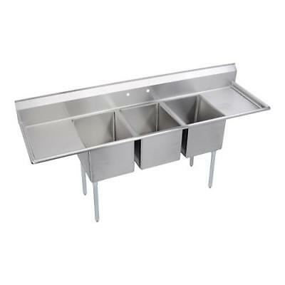 Elkay - E3C16X20-2-18X - 88 in Three Compartment Sink w/ Two Drainboards
