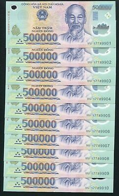 5 Million dong VietNam Currency 5 x 500,000 500000 dong UNC with 1 note wrinkle