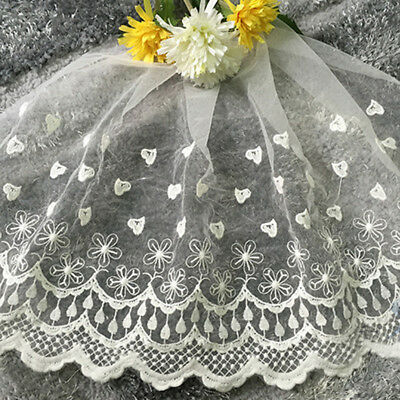 3 Pattern Floral Embroidered Mesh Lace Edge Trim Tulle Craft Vintage Sew 35cm