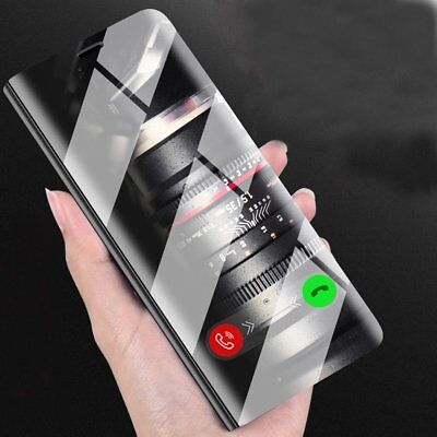 Clear View Mirror Leather Slim Flip Stand Case Cover For iPhone X/8 Plus/