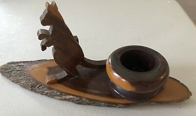 Vintage Wooden Desk Ornament With Kangaroo And Ink Well In Vg Condition