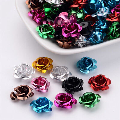 100 Pcs Aluminum Rose Flower Tiny Metal Beads Mixed Color Crafts 15x9mm Hole 1mm