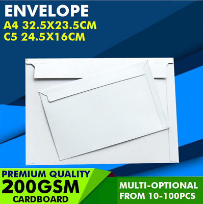A4 C5 White Cardboard Envelope Mailer Document Card Photo Film CD DVD 300GSM