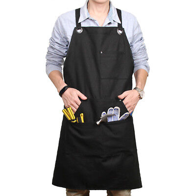 Heavy Duty Work Shop Apron Adjustable Size Durable Waxed Canvas Multiple Pockets